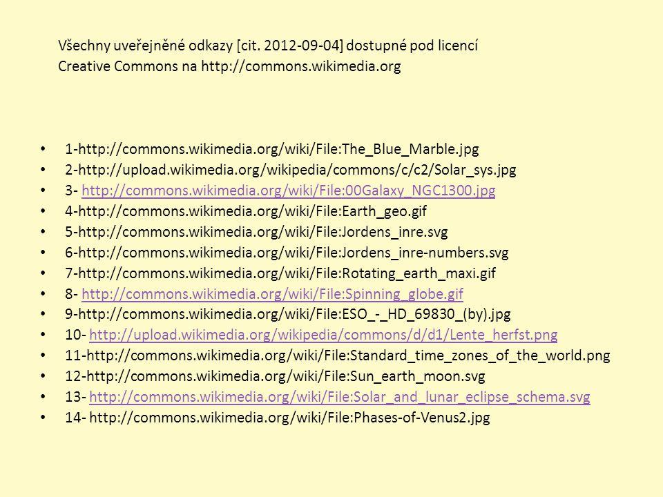 Všechny uveřejněné odkazy [cit. 2012-09-04] dostupné pod licencí